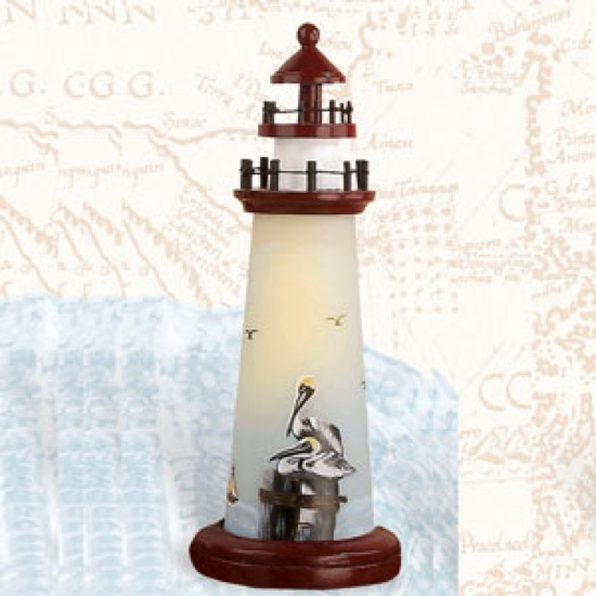 18 Inch Night Light Pelican Lighthouse Decor