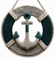 12 Inch Wooden With Anchor Nautical Life Ring