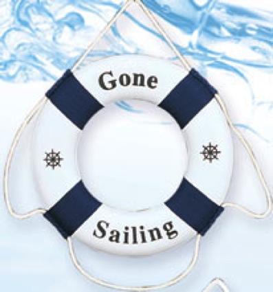 12 Inch Gone Sailing Nautical Life Ring