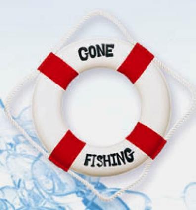 12 Inch Gone Fishing Nautical Life Ring