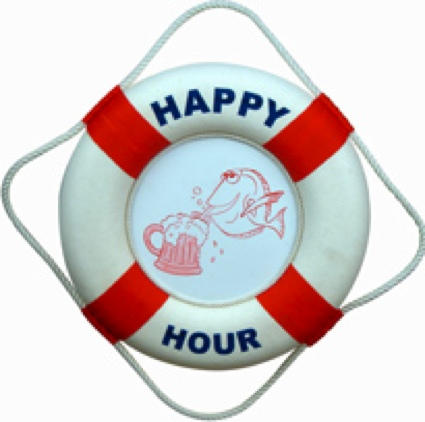 18 Inch Happy Hour Life Ring Nautical Life Ring