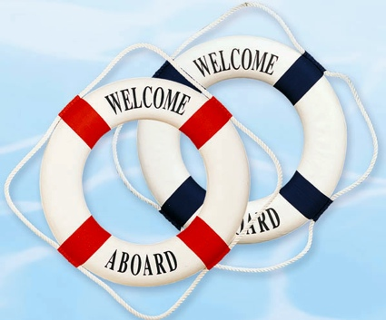 20 Inch Welcome Aboard Nautical Life Ring