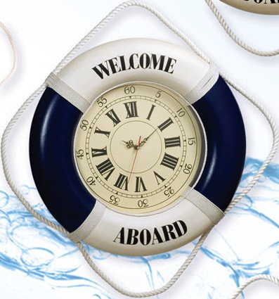 20 Inch Clock Welcome Aboard Blue Nautical Life Ring