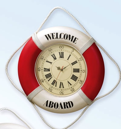 20 Inch Clock Welcome Aboard RED Nautical Life Ring