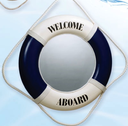 20 Inch Mirror Blue Nautical Life Ring