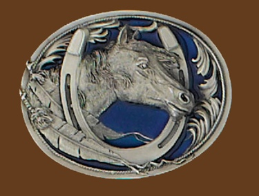 Horsehead/Horseshoe Belt Buckle Blue Enamel 3 x 2-3/8...NOT M-22