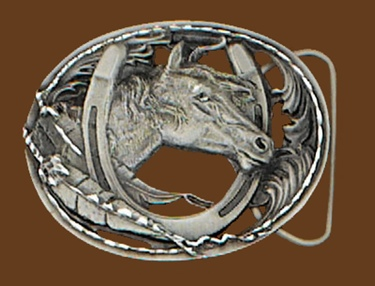Horsehead/Horseshoe Belt Buckle Cut Out Diamond Cut 3 x 2-1/4 NOT M-2