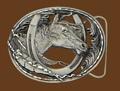 Horsehead/Horseshoe Belt Buckle Cut Out Diamond Cut 3 x 2-1/4 NOT M-2