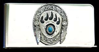 Bear Claw & Turquoise Money Clip