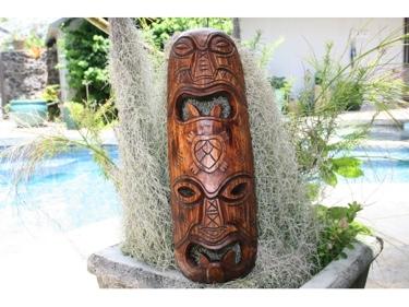 Fijian Tiki Mask W Carved Turtle 20 Strength Abundance