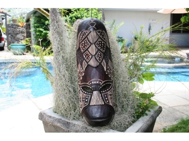 Fijian Tiki Mask W Carved Turtle 20 Happiness Pcc