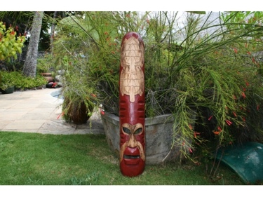 Fijian Tiki Mask W 2 Carved Turtles 40 Fishing Ocean Polynesian Art
