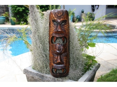 Fijian Tiki Mask W 2 Deities 20 Evil Hunter Polynesian Art