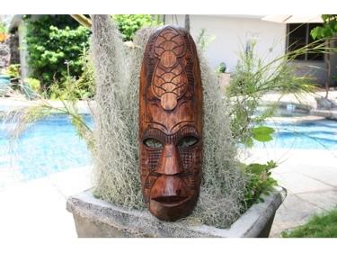 Fijian Tiki Mask W 2 Turtles 20 Prosperity Hawaiian Decor