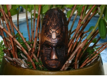 Fijian Tiki Mask W Turtle Gecko 12 Hawaiian Decor
