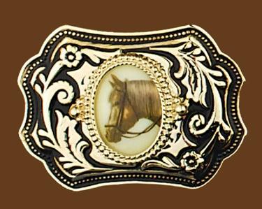 Horsehead Belt Buckle Gold/Black 3-1/2 x 2-3/4