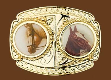 Double Horse Belt Buckle 4 x 3