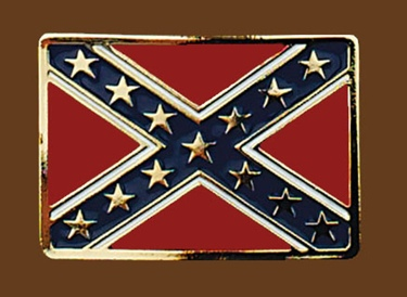 Confederate Flag Belt Buckle 3-1/4 x 2-1/4 GOLD