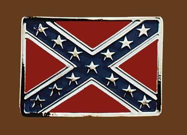 Confederate Flag Belt Buckle 3-1/4 x 2-1/4 SILVER