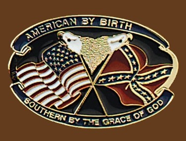 American by birth southern by grace belt buckle 3-1/4 x 2-1/4