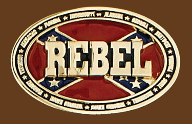 REBEL Belt Buckle 3-3/4 x 2-1/2 GOLD