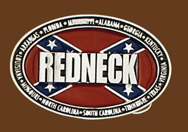 REDNECK Belt Buckle 3-3/4 x 2-1/2 SILVER