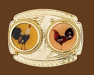 Two Roosters Belt Buckle 3-7/8 x 3