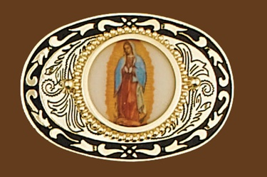 Virgin Mary Belt Buckle 3-1/2 x 2-3/8