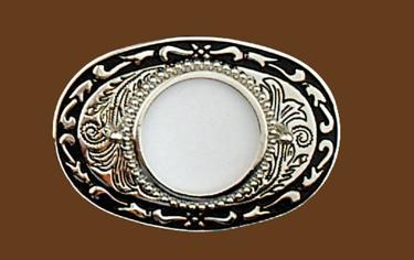 Silver Dollar Belt Buckle Silver/Black 3-1/2 x 2-3/8