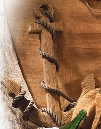 24 Inch. Natural Wooden Anchor Nautical Decor