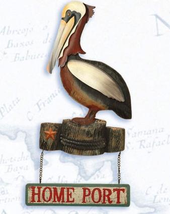 15 Inch Home Port Pelican Plague Nautical Decor