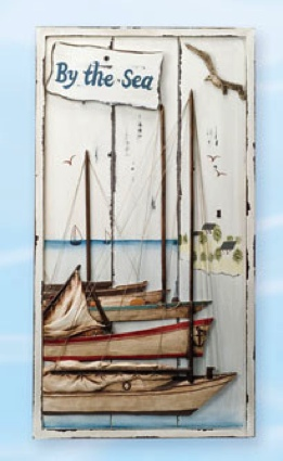 Wall Plaque InchBy the Sea 26 Inch x 14 Inch Nautical Decor