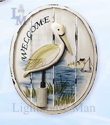 23 Inch x 18 Inch Pelican Plaque Nautical Decor