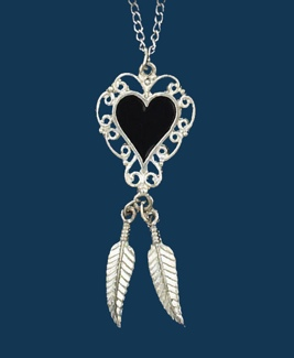 Onyx Heart Necklace with Feather