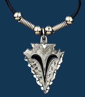 Medium Arrowhead Necklace on Leatherette Cord
