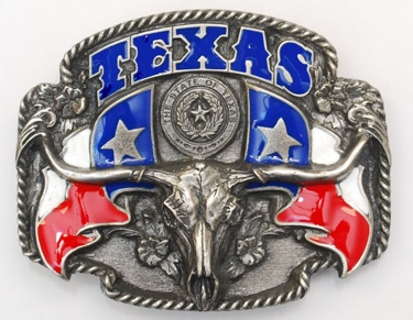 Texas Steerhead Enameled Belt Buckle 3-1/4 x 2-1/2