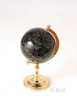 Night sky globe 220mm single stand metal base gold
