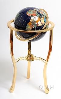 Lapis globe 330mm 3 legged high stand gold stand