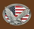 Eagle on USA Flag Belt Buckle 4 x 3