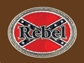 REBEL - rebel flag pewter belt buckle 3-1/4 x 2