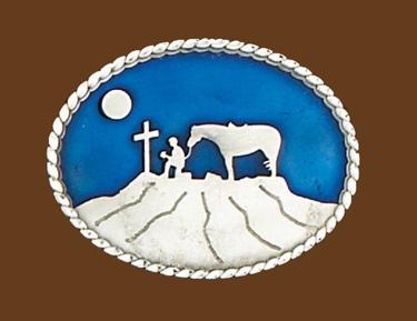 Cowboy Praying Belt Buckle Blue Enamel 3-1/2 x 2-3/4