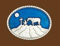 Cowboy Praying Belt Buckle Blue Enamel 3-1/2 x 2-3/4