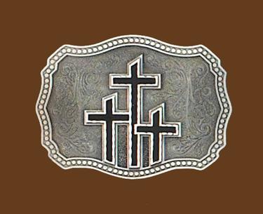 z Triple Crosses Belt Buckle Black Enamel 3-1/2 x 2-3/4
