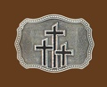 z Triple Crosses Belt Buckle Black Enamel 3-1/2 x 2-3/4