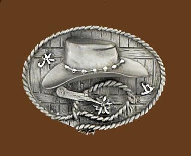 Cowboy Hat & Spurs Belt Buckle 3-3/8 x 2-1/2