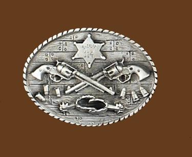 Crossed Guns & Spurs Sheriff Belt Buckle 3-1/4 x 2-1/2
