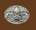 Crossed Guns & Spurs Sheriff Belt Buckle 3-1/4 x 2-1/2