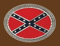 Confederate Flag Belt Buckle Oval 4 x 3