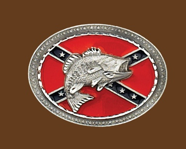 Confederate Flag Belt Buckle with Fish 4 x 3