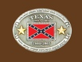 Texas Battle Flag Belt Buckle 4 x 3